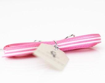 "Pink and White Narrow Stripe Grosgrain Ribbon 3/16"""