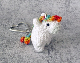 Key Pendant Unicorn, bag charm rainbow myth horse, small Toy Animal with Heart Snap Hook, key chain fob miniature horse, mini unicorn kawaii