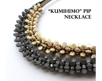 Beadwoven Kumihimo Pip Necklace - PDF beading pattern - Instant Download