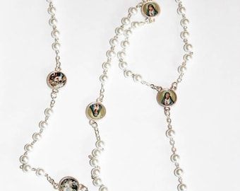 Servite rosary Our Lady of The seven sorrows White beads mater dolorosa chaplet of seven sorrrows dolor rosary