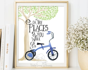 Inspirational Print balloon print Oh The Places You'll Go Teen Room Decor Typographic Quote nursery wall art Positive Art DOWNLOAD ID194-2