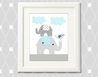 Aqua and gray elephant  Nursery Art Print, 8x10, nursery wall art, Kids Room Decor,  playroom, aqua, love bird, light grey, dark grey