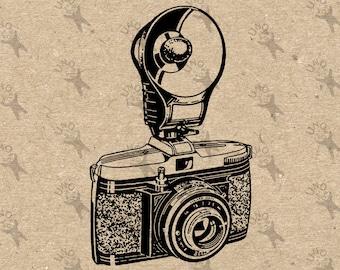 Vintage Image Photo Camera Flash 35mm Instant Download Digital retro drawing printable graphic kraft pillows tote tea towels t-shirt  300dpi