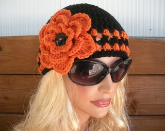 Women's Hat Crochet Hat Winter Fashion Accessories Women Beanie Cloche Winter Hat in Black with Orange Stripes and Flower