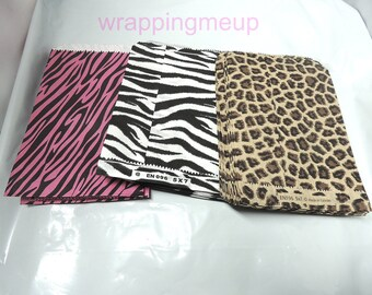 300 Wholesale Hot Pink Zebra, Leopard and Wild Zebra  5 x 7 inch Animal Print Paper Bags, Colored Flat Party Bags, Striped Merchandise Bags
