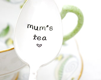 Mum's Tea. Hand stamped teaspoon with heart. British Mother's Day gift idea.