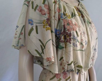 Vintage 70's Flutter Sleeve Floral Maxi Dress Boho