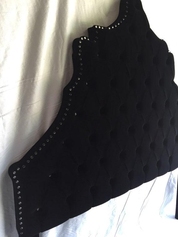 Cabecero de terciopelo negro Reina tamaño cabecera copetuda
