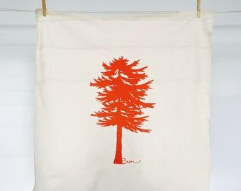 Orange Conifer Tea Towel