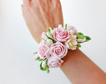 Rustic Wedding Corsage, Bridal Bracelet, Bridal Corsage, Faux Flowers, Corsage For Mothers, Rose Bracelet, Bridal Flowers, Wedding Bracelet