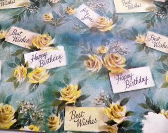 Vintage Wrapping Paper, Vintage Gift Wrap, Yellow Roses Happy Birthday Gift Wrap, One sheet 20X28 inches, Scrapbook Craft paper, Floral
