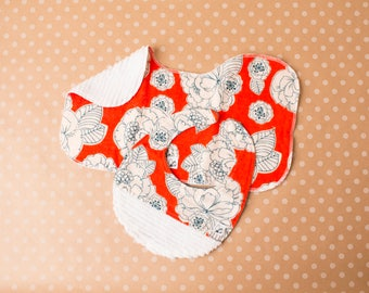 Flowers Floral Orange Blue USCG Bib Burp cloth Flannel Chenille Little Tommys Newborn Baby gift set Baby girl Snap Soft Absorbent New parent