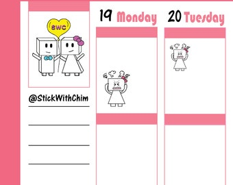 Bow Robot Girl Stressed Mad Frustrated   Cute Planner Stickers   Perfect for planners and calendars   R299