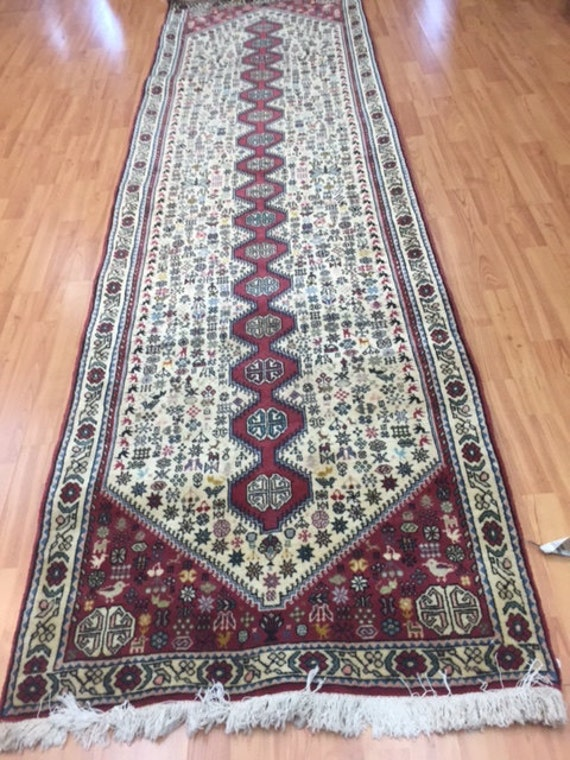 "2'9"" x 9'3"" Persian Abadeh Shiraz Runner Oriental Rug - 100% Wool"