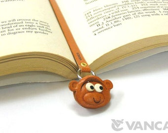 Monkey Leather 3D Animal Bookmark/Bookmarks/Bookmarker *VANCA* Made in Japan #26106 Free Shipping