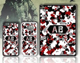 Army Print Initial Phone case Monogram 4 5 6 7 8 X SE 5C Galaxy J5 S5 S7 S8 S9 Plus + Edge Note Mini Z3 Z5 iPad  No.05 Red Black