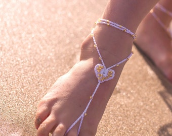 Baby Barefoot Sandals- Flower Girl Barefoot Sandals- Mommy and Me Outfits- Beach Wedding- Rose Gold Foot Jewelry- Sandles- Barefoot Wedding