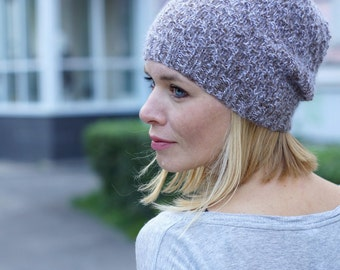 Hand knitted winter beany - brown women hat urban wool hat