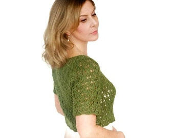 Green Wedding Shrug Silk Wool Bolero Cardigan Lichen Moss Olive Bella Lace Bridal Jacket Short Sleeves XS/S