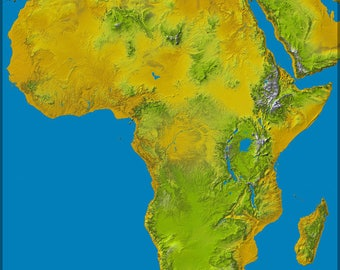 Poster, Many Sizes Available; Physical Map Of Africa