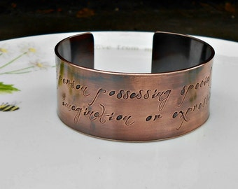 Copper Poet Cuff Bracelet,  Dictionary Definition Cuff, Quote Jewelry, Gift for Poet, Literary Gifts, Poetry Lover Gift, Gift for Teacher.