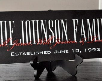 Personalized Family Name Sign Established Plaque Painted Sign 7x20