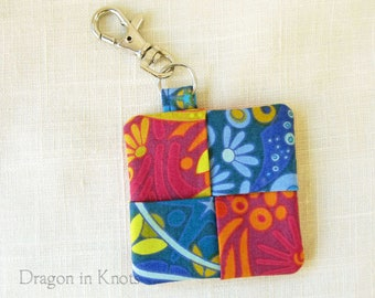 Fabric Keychain Pouch for Earbuds, Guitar Picks, or Other Small Items - blue and magenta floral cotton pocket with silvertone swivel clip