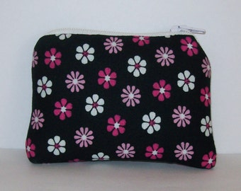 "Pipe Pouch, Padded Pipe Case, Pipe Bag, Padded Pouch, Mini Coin Purse, Cute Hippy Bag, Floral Pipe Bag, Black Pink Pouch, 420 Bag - 4"" MINI"