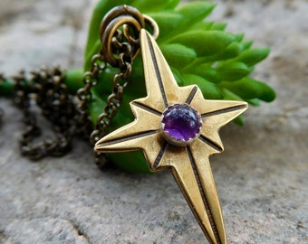 Gold star necklace | Brass Amethyst north star necklace | Small | compass necklace | compass rose necklace | ocean star necklace