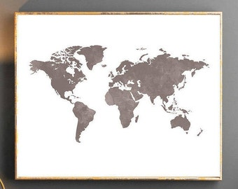 World map downloadable print yellow and grey map of the world watercolor world map world map wall art world map poster grey world map watercolor wallpaper large world map watercolor map grey map travel gumiabroncs Gallery