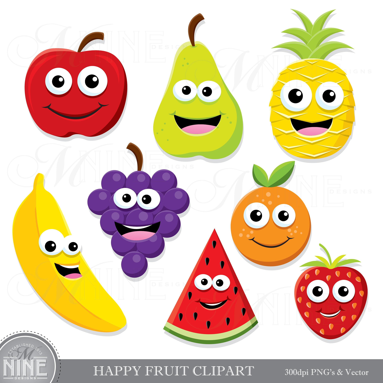 HAPPY FRUIT Clip Art / Fruit Clipart Downloads / Cute Fruit