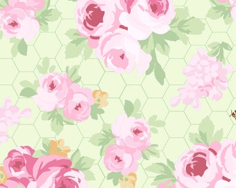 Fidelia Roses - Green 2076-17 by Clothworks Cotton Fabric Yardage