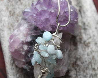 Aquamarine and Clear Quartz Tree, Sterling Silver Pendant