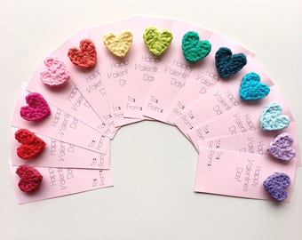 Crocheted Heart Pin Valentines