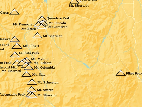 Colorado Ers Map X Poster - 14ers map us