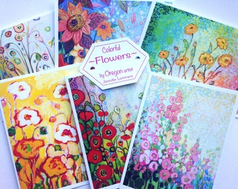 Colorful Flowers - set of Blank Note Cards by Jenlo