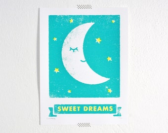 Sweet Dreams Print, Moon Art, Kids Room, Nursery Art