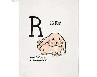 Letter R Is For Rabbit Tea Towel Dish Cloth