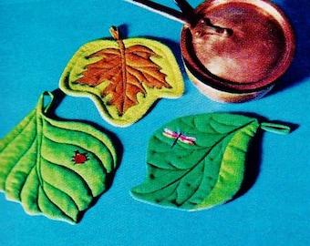 Leaf Potholders Vintage Sewing Instructions Pattern Instant Download