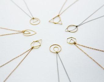 Geometric Shape Necklace, Minimalist Necklace, Everyday Necklace, Circle, Triangle, Teardrop, Hexagon, Pendant Necklace, Dainty Jewelry