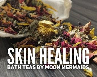 3 Bath Teas, Herbal Bath Tea, Botanical Bath Soak, All Natural Bath Soak, Bath Tea Soak for Body Skincare,