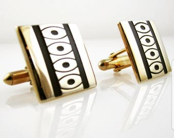 Vintage Signed SWANK Cufflinks with Black Dots and Lines Modernist Style Men's Jewelry and Gifts