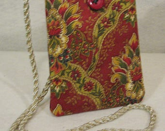 Red Paisley Bag, Red Bag, Red Phone Crossbody, Red Phone Shoulder Bag, Red Mini Bag, Red Bitty Bag, Red Paisley Mini Bag, Red and Gold Bag