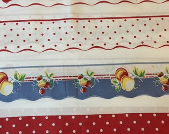 One Yard Summery Apple Border Print Cotton Fabric