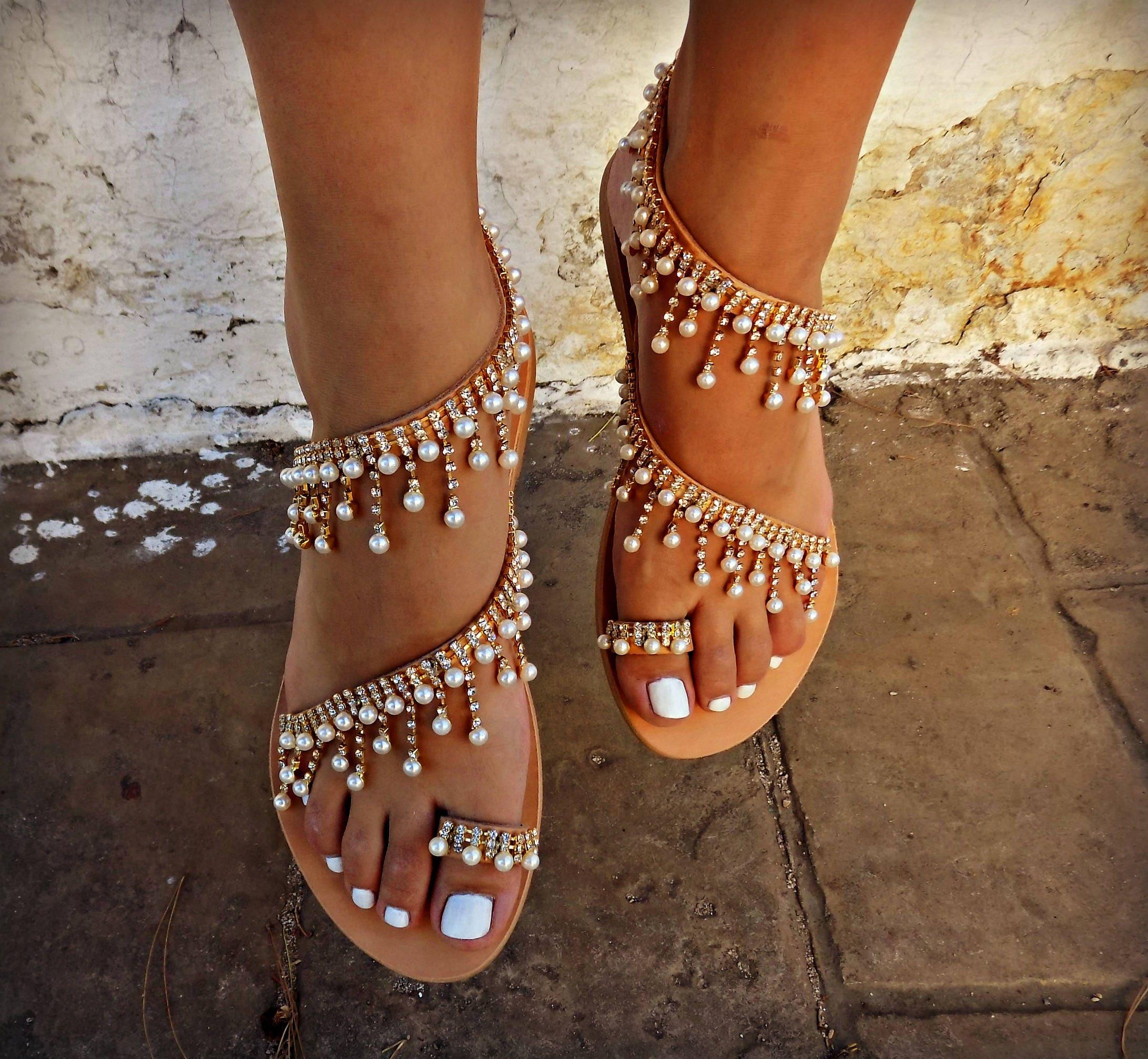 Bridal Shoes Boho: Wedding Sandals, Greek Leather Sandals, Luxurious Bridal