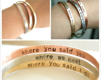 Secret Message Cuff Bracelet, Personalized Bridesmaid Gift, Friendship Bracelet, Custom Cuff Bracelet, Gold Silver Rose Gold Cuff Bracelet