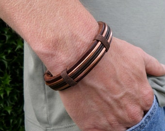 Men's Copper Bracelet, Men's leather bracelet, Men's Leather and Copper Bracelet, Men's Copper bracelet, Copper Bracelet, Leather Bracelet