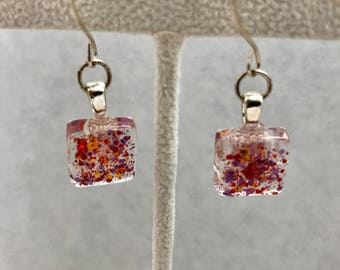 Red Yellow Purple Glitter Glass Dangle Earrings Doodaba