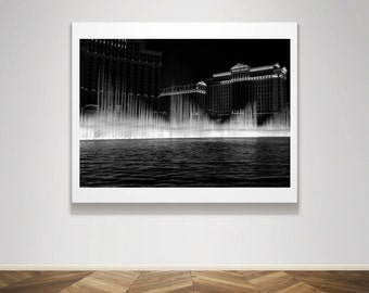 Photograph - Bellagio Fountain in Las Vegas Black and White Fine Art Photography Print Wall Art Home Decor