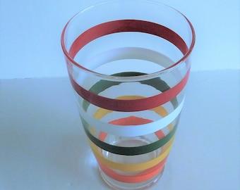 Vintage Striped Glass Shaker - 1950's - Anchor Hocking Fiesta Bands